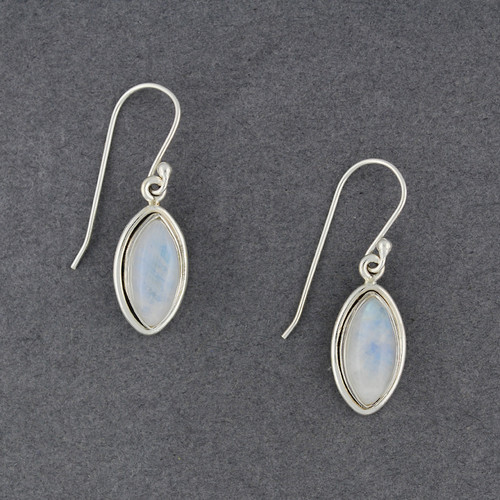 Sterling Silver Rainbow Moonstone Drop Earrings