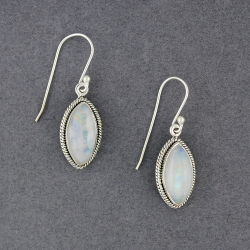 Sterling Silver Rainbow Moonstone Detailed Drop Earrings