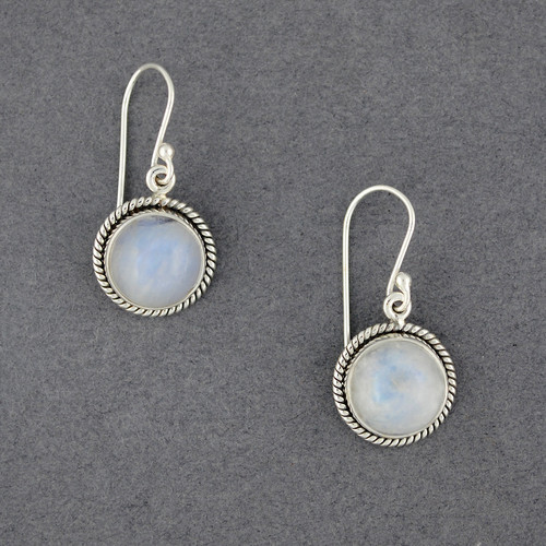 Sterling Silver Rainbow Moonstone Twisted Circle Earrings