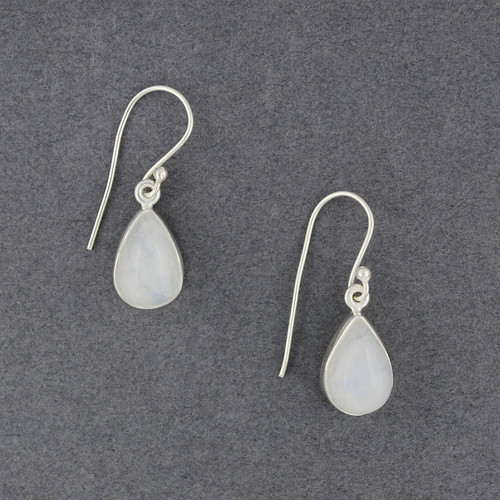 Sterling Silver Rainbow Moonstone Teardrop Earrings