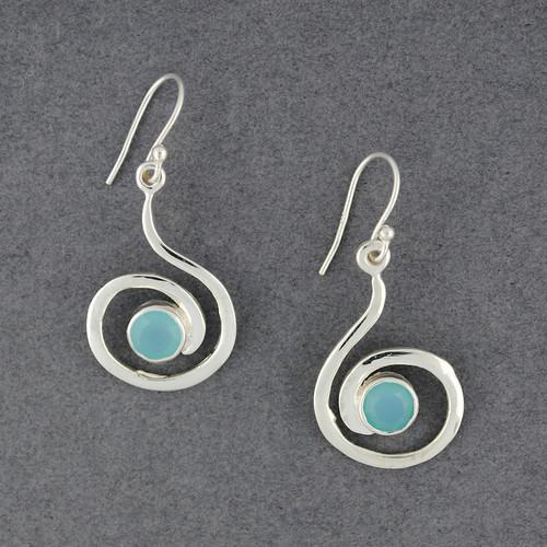 Sterling Silver Chalcedony Swirl Earrings