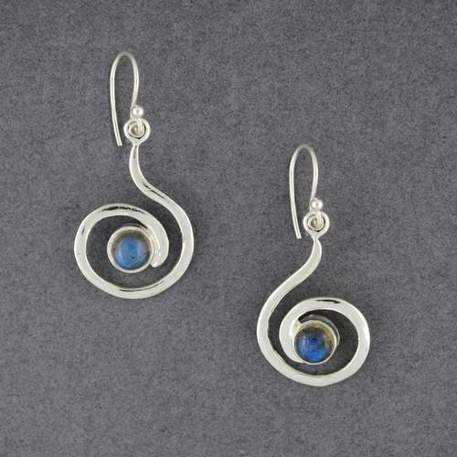 Sterling Silver Labradorite Swirl Earrings