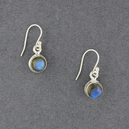 Sterling Silver Labradorite Small Circle Earrings