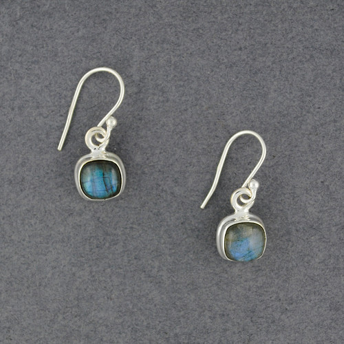 Sterling Silver Labradorite Small Square Earrings