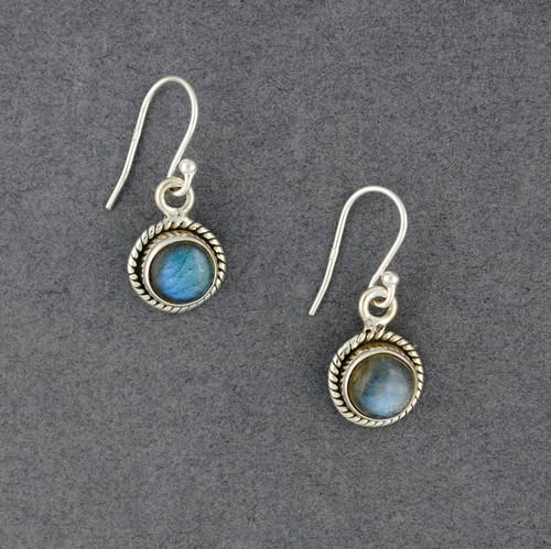 Sterling Silver Labradorite Detailed Circle Earrings
