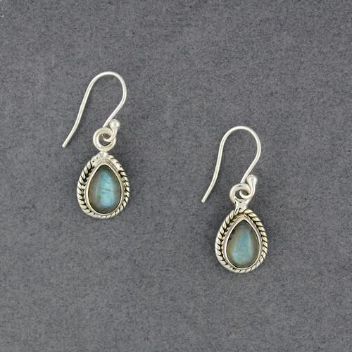 Sterling Silver Labradorite Detailed Teardrop Earrings