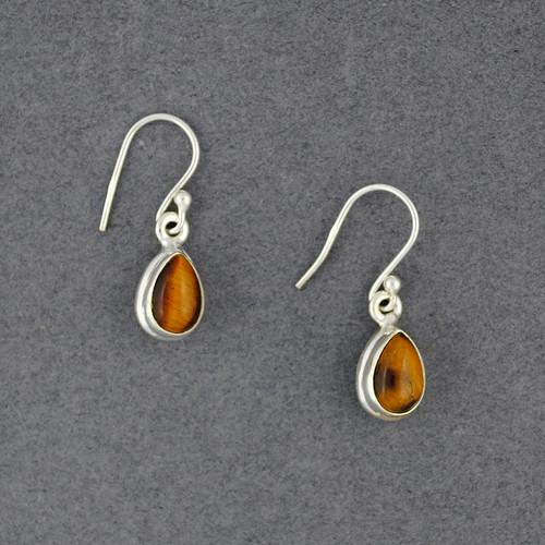 Sterling Silver Tiger Eye Teardrop Earrings