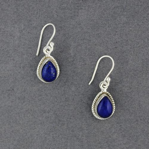 Sterling Silver Lapis Detailed Teardrop Earrings