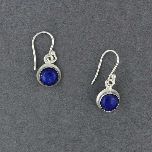 Sterling Silver Lapis Small Circle Earrings