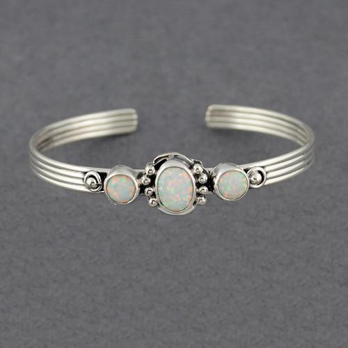 Sterling Silver 3 Stone Opal Cuff