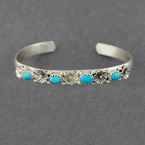 Sterling Silver 4 Stone Turquoise Cuff