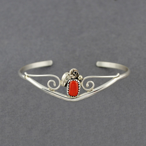 Sterling Silver Small Coral Feather Cuff