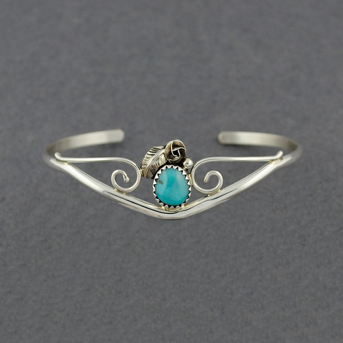 Sterling Silver Small Turquoise Feather Cuff