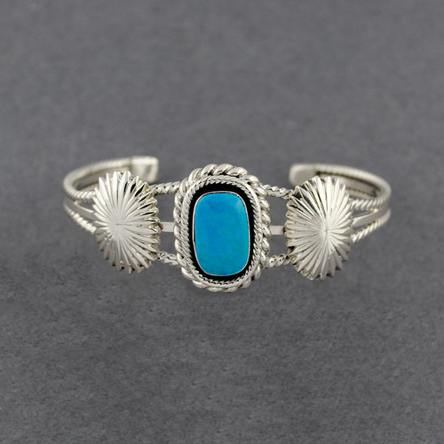 Sterling Silver Turquoise Flowers & Twists Cuff