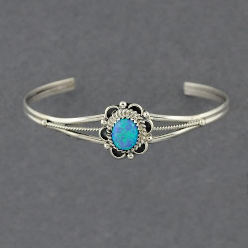 Sterling Silver Opal Flower Cuff