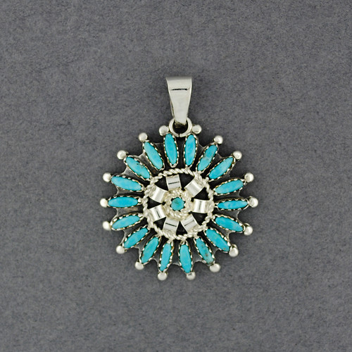 Sterling Silver Small Peti Point Turquoise Pendant