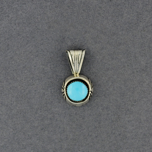 Sterling Silver Turquoise with Detailed Setting Pendant