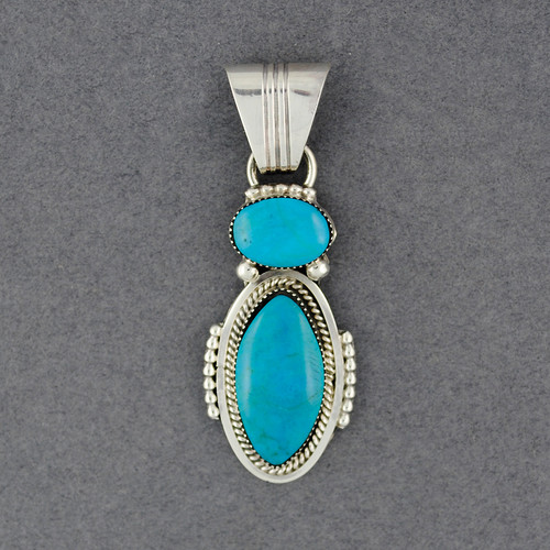Sterling Silver Turquoise Double Oval Pendant