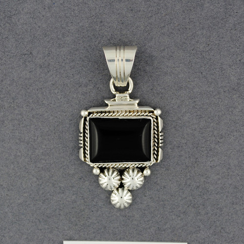Sterling Silver Onyx Rectangle Pendant