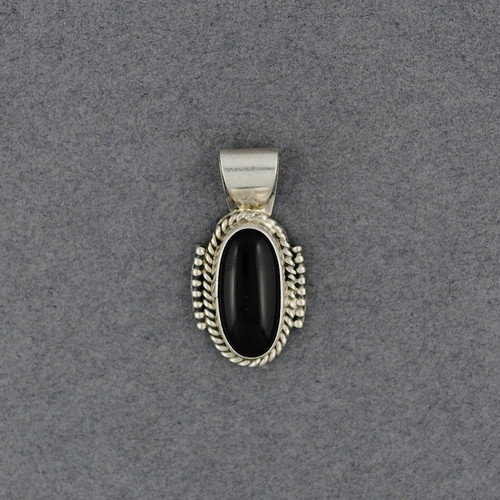 Sterling Silver Small Onyx Oval Pendant