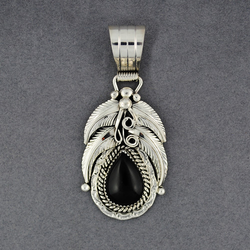 Sterling Silver Onyx Teardrop With Feathers Pendant