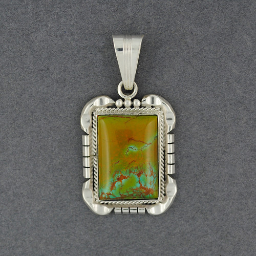 Sterling Silver Turquoise Large Rectangle Pendant