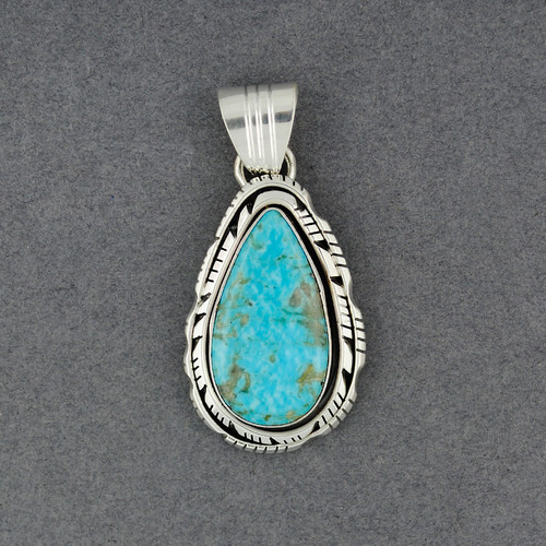 Sterling Silver Turquoise Double Bezel Teardrop Pendant
