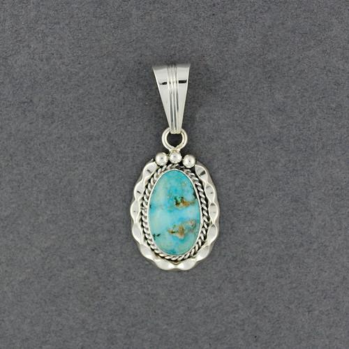Sterling Silver Turquoise Detailed Bezel Pendant