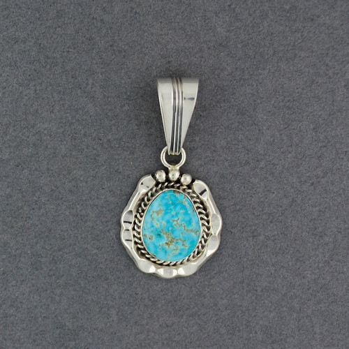 Sterling Silver Turquoise Small Detailed Bezel Pendant