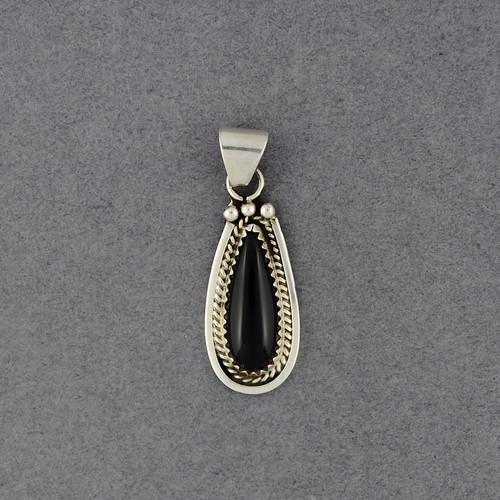 Sterling Silver Onyx Teardrop Pendant