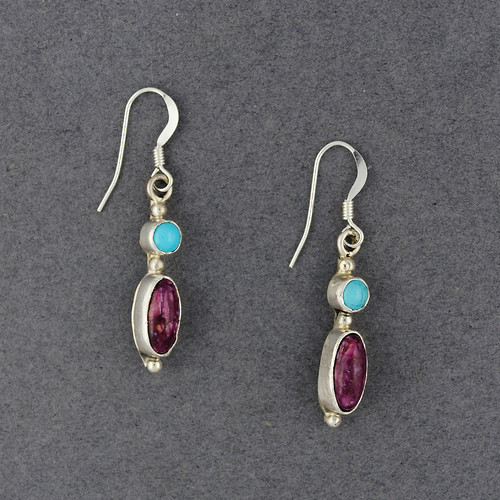 Sterling Silver Turquoise and Spiny Oyster Oval Earrings