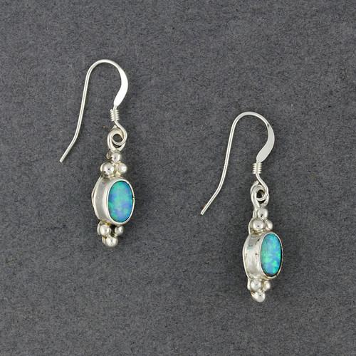 Sterling Silver Small Opal Oval Earrings