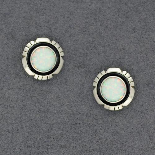 Sterling Silver White Opal Post Earrings