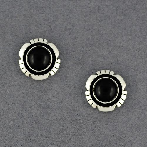 Sterling Silver Onyx Post Earrings