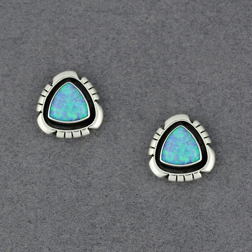 Sterling Silver Blue Opal Triangle Post Earrings