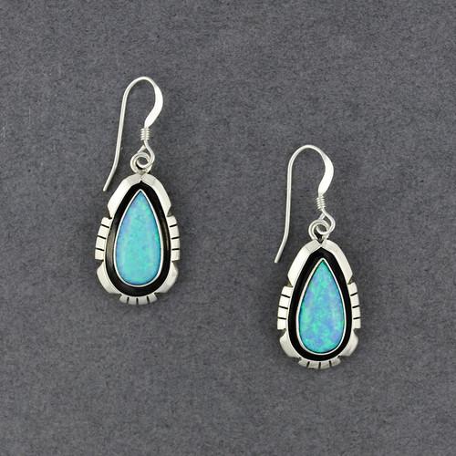 Sterling Silver Blue Opal Teardrop Earrings