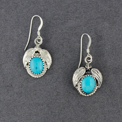 Sterling Silver Turquoise Oval with Feathers Earrings