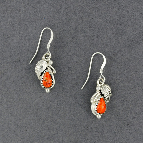 Sterling Silver Spiny Oyster Teardrop with Feather Earring
