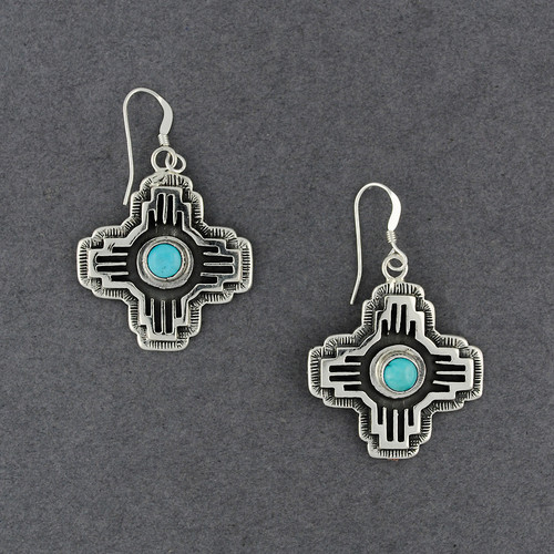 Sterling Silver Intricate Turquoise Earrings