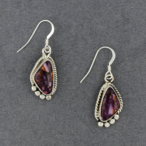 Sterling Silver Purple Spiny Oyster Triangle Earring