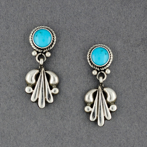 Sterling Silver Turquoise Squash Blossom Earrings