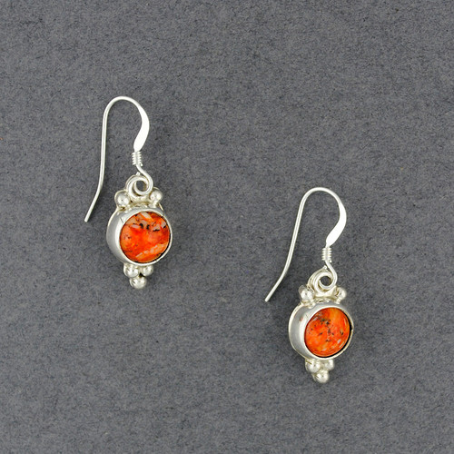 Sterling Silver Spiny Oyster Dotted Circle Earring