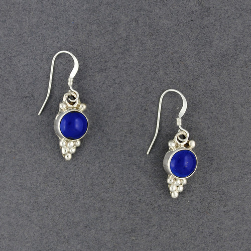 Sterling Silver Lapis Dotted Circle Earrings