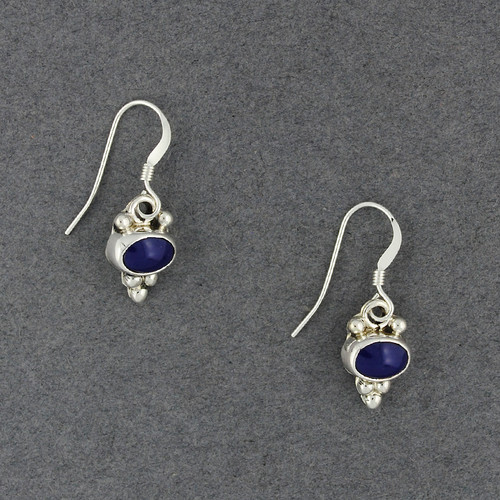 Sterling Silver Lapis Dotted Oval Earrings