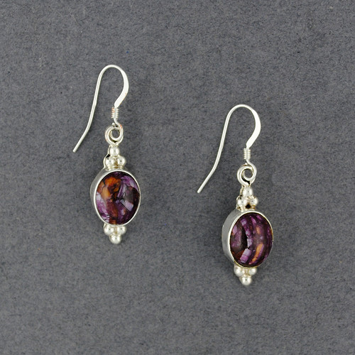 Sterling Silver Purple Spiny Oyster Dotted Oval Earring