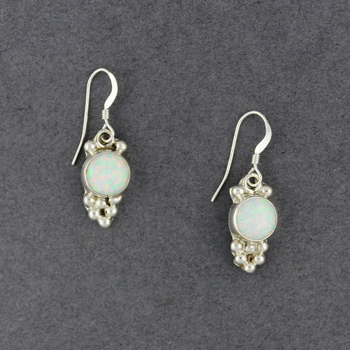 Sterling Silver Opal Dotted Circle Earrings