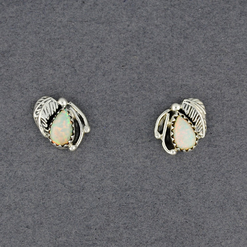 Sterling Silver Opal Post with Feather Earrings