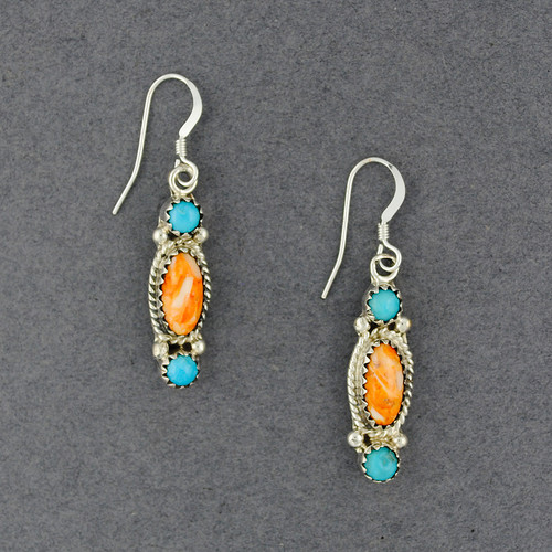 Sterling Silver Turquoise and Orange Spiny Oyster Earrings