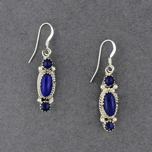 Sterling Silver Lapis Oval and Circles Earrings