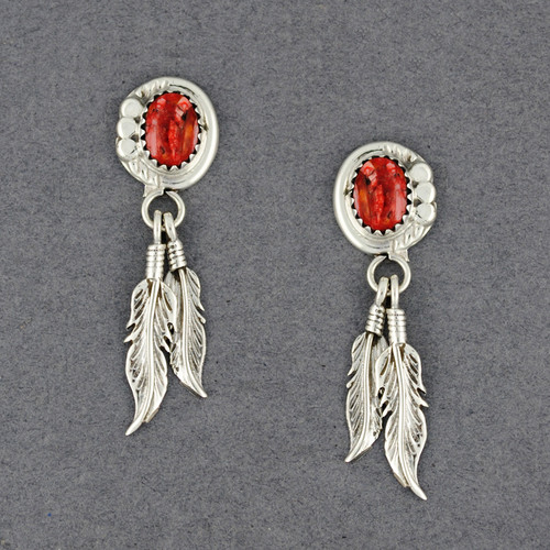 Sterling Silver Spiny Oyster with Feathers Post Earrings